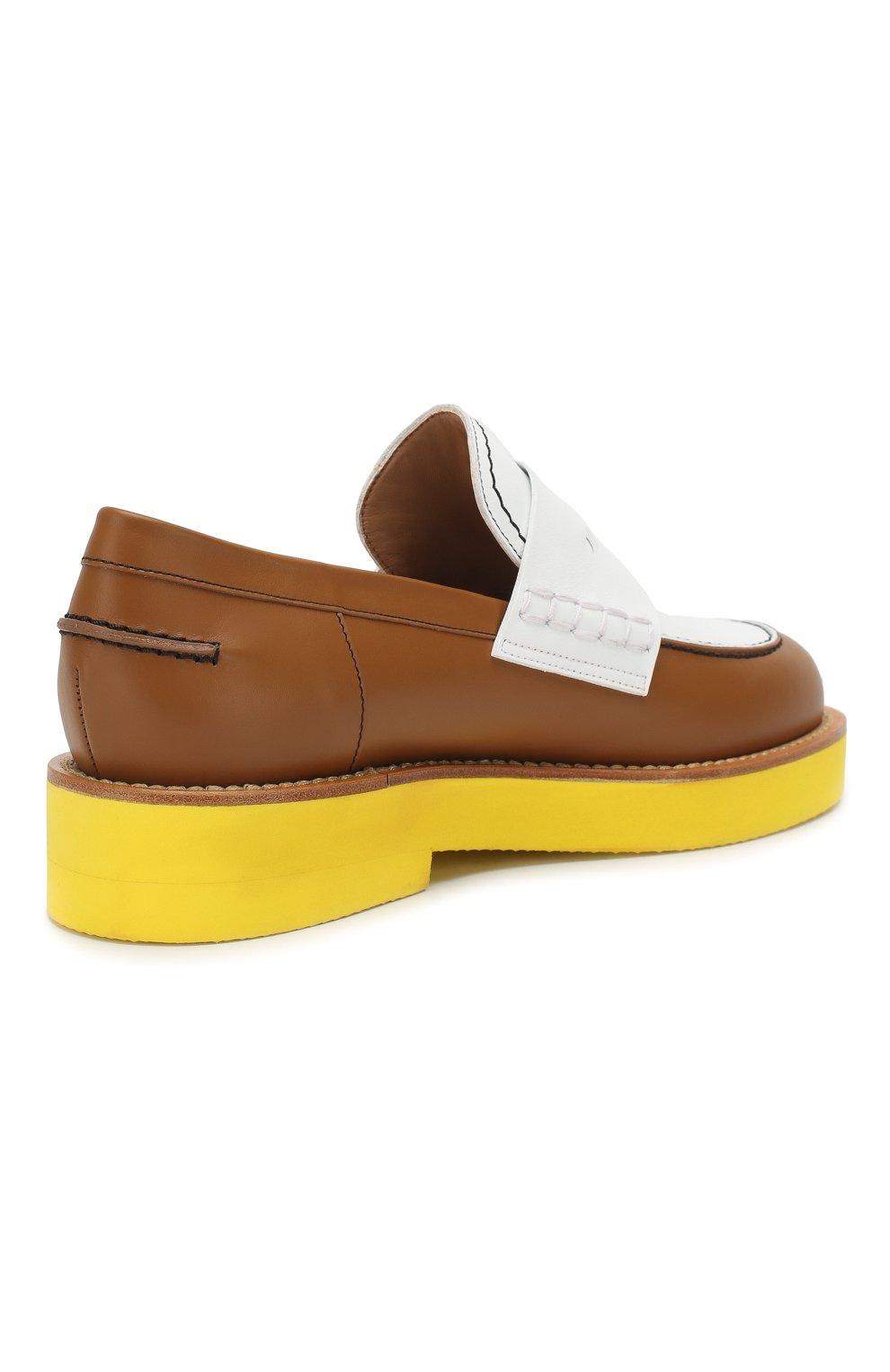 Кожаные пенни-лоферы Marni желтые | Фото №4
