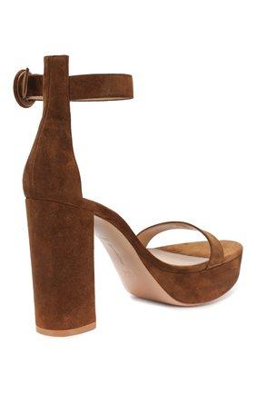 Замшевые босоножки Gianvito Rossi коричневые | Фото №4