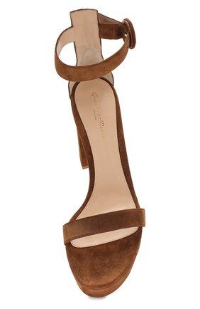 Замшевые босоножки Gianvito Rossi коричневые | Фото №5