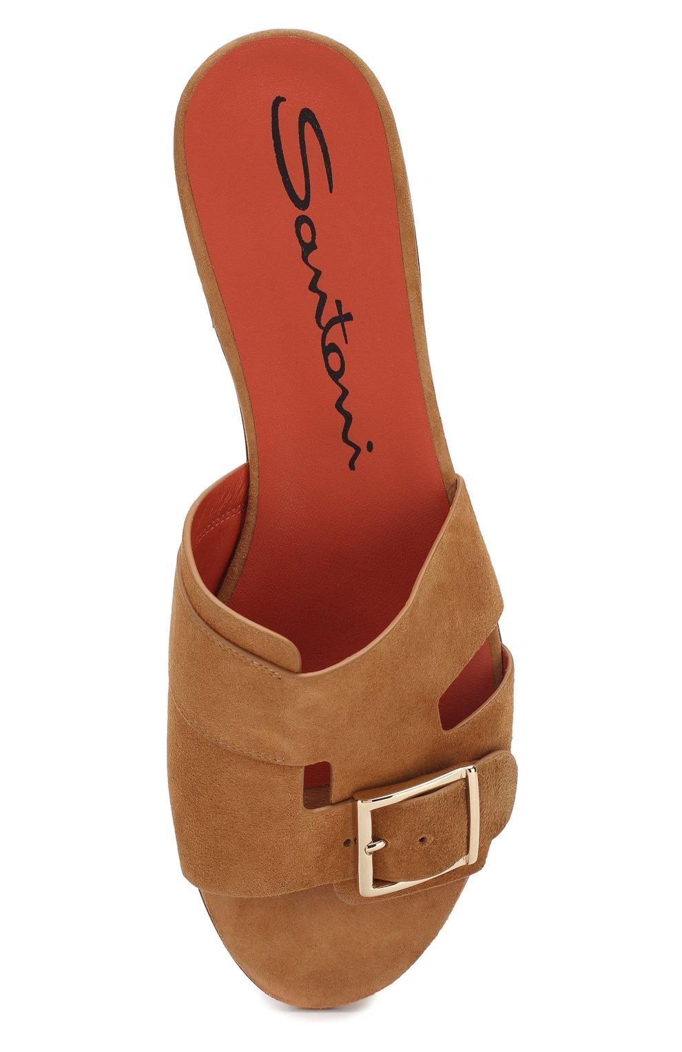 Замшевые шлепанцы Santoni коричневые | Фото №5