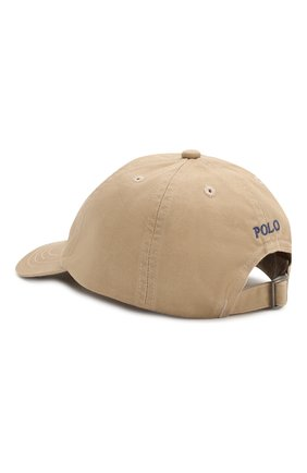 Хлопковая бейсболка Polo Ralph Lauren бежевого цвета   Фото №2