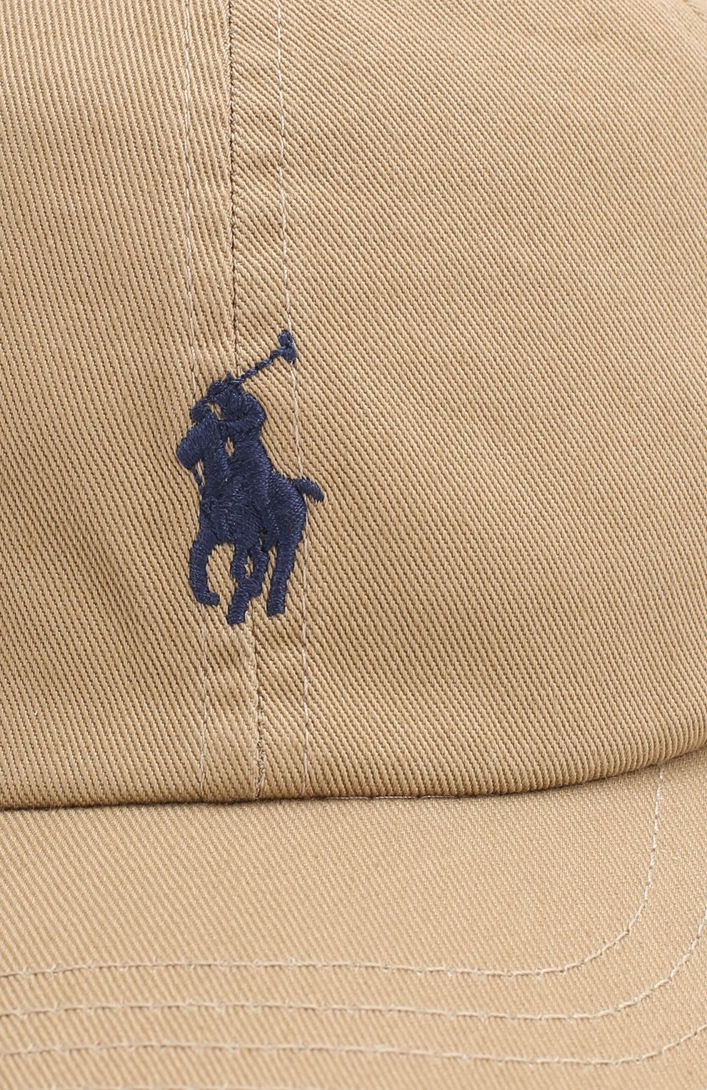 Хлопковая бейсболка Polo Ralph Lauren бежевого цвета   Фото №3