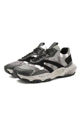 Мужские комбинированные кроссовки valentino garavani bounce VALENTINO серого цвета, арт. RY2S0B05/SJH | Фото 1