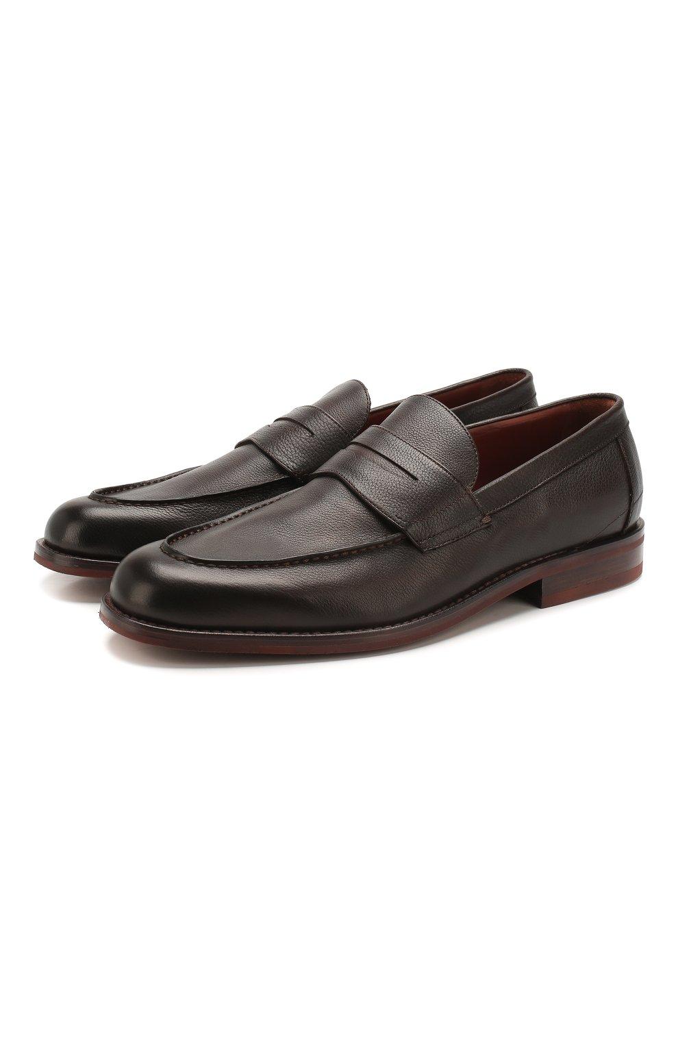 Мужские кожаные пенни-лоферы lp city walk LORO PIANA темно-коричневого цвета, арт. FAI4085 | Фото 1