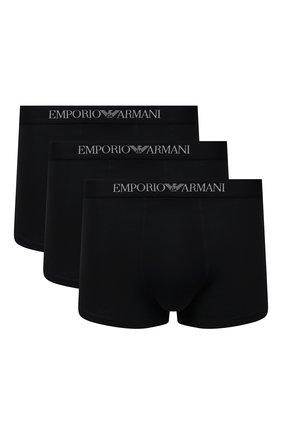 Мужские комплект из трех хлопковых боксеров EMPORIO ARMANI черного цвета, арт. 111610/CC722   Фото 1