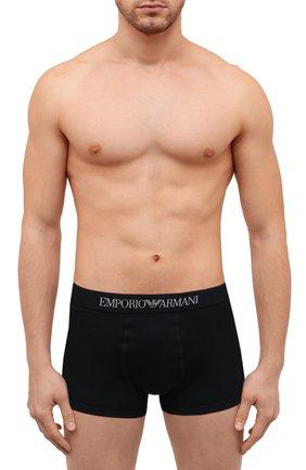 Мужские комплект из трех хлопковых боксеров EMPORIO ARMANI черного цвета, арт. 111610/CC722   Фото 2