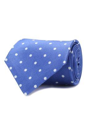 Мужской галстук из смеси шелка и льна KITON синего цвета, арт. UCRVKLC05F54 | Фото 1