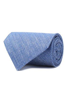 Мужской галстук из смеси шелка и льна KITON синего цвета, арт. UCRVKLC06F13 | Фото 1