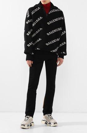 Мужской шерстяной свитер BALENCIAGA черно-белого цвета, арт. 555484/T1471 | Фото 2