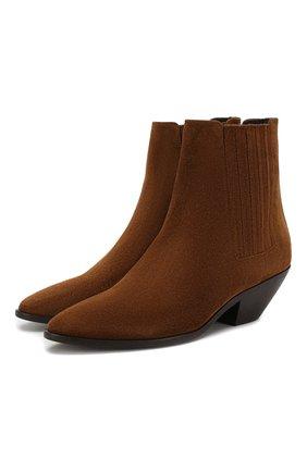 Женские замшевые ботинки west SAINT LAURENT коричневого цвета, арт. 549214/BT300 | Фото 1
