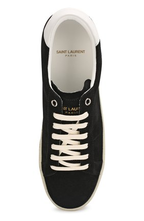 Замшевые кеды Court Classic Saint Laurent черные | Фото №5