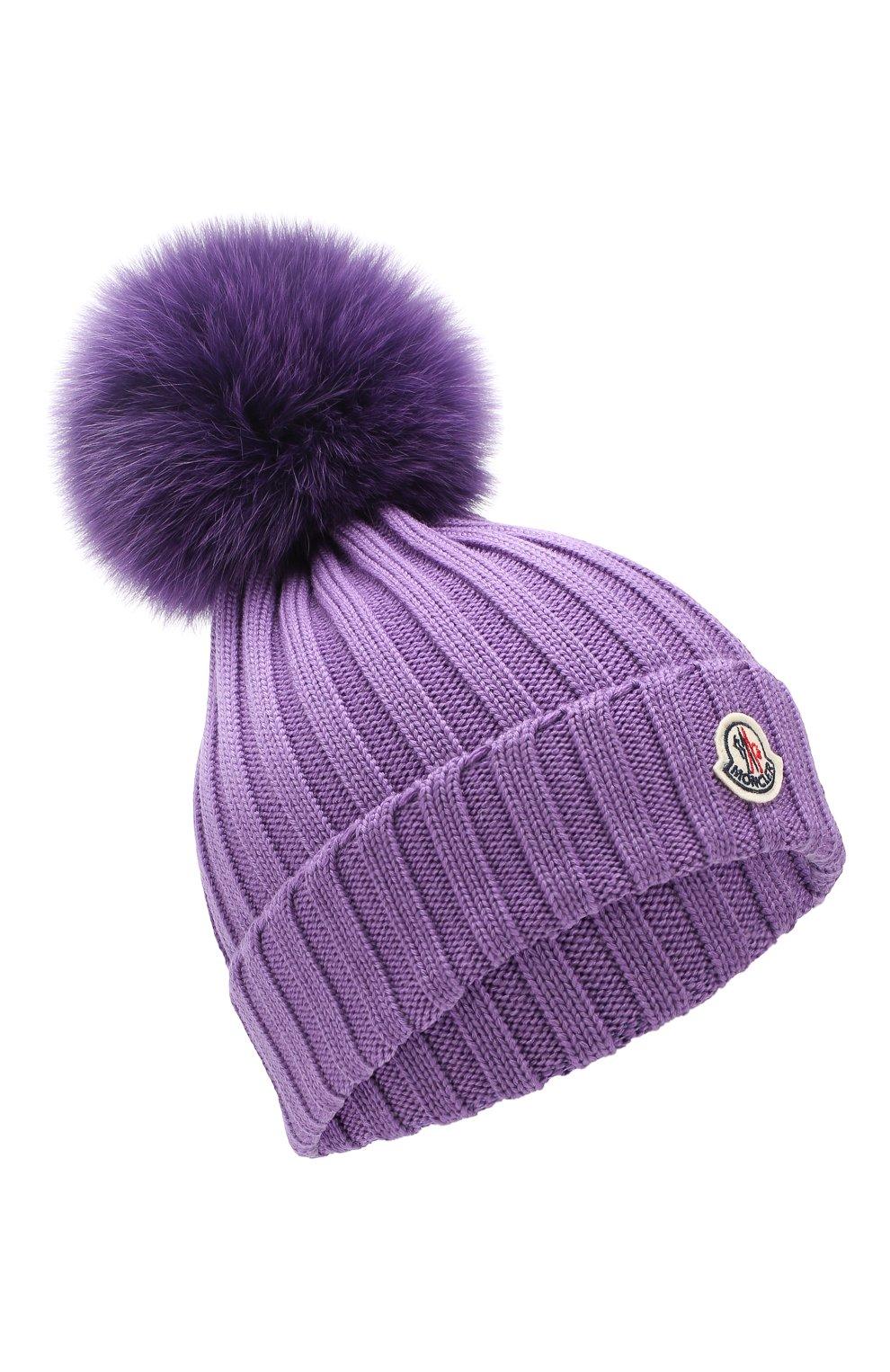 Шерстяная шапка с помпоном из меха песца Moncler фиолетового цвета | Фото №1