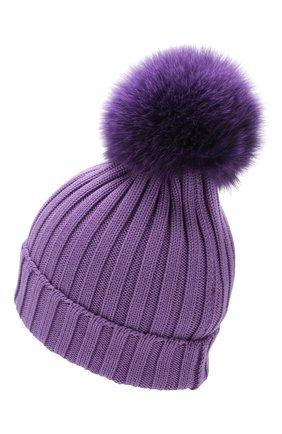 Шерстяная шапка с помпоном из меха песца Moncler фиолетового цвета | Фото №2