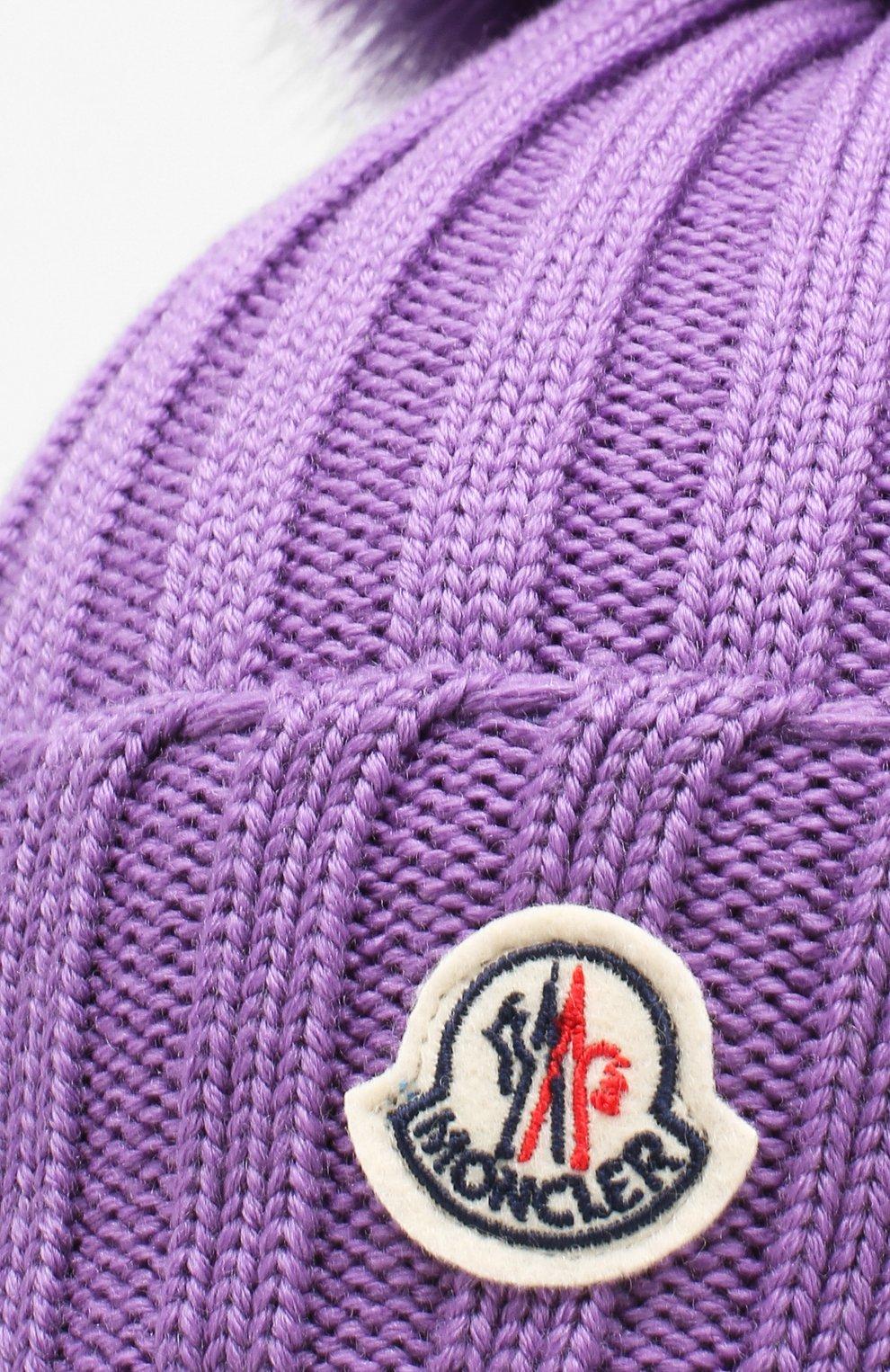 Шерстяная шапка с помпоном из меха песца Moncler фиолетового цвета | Фото №3