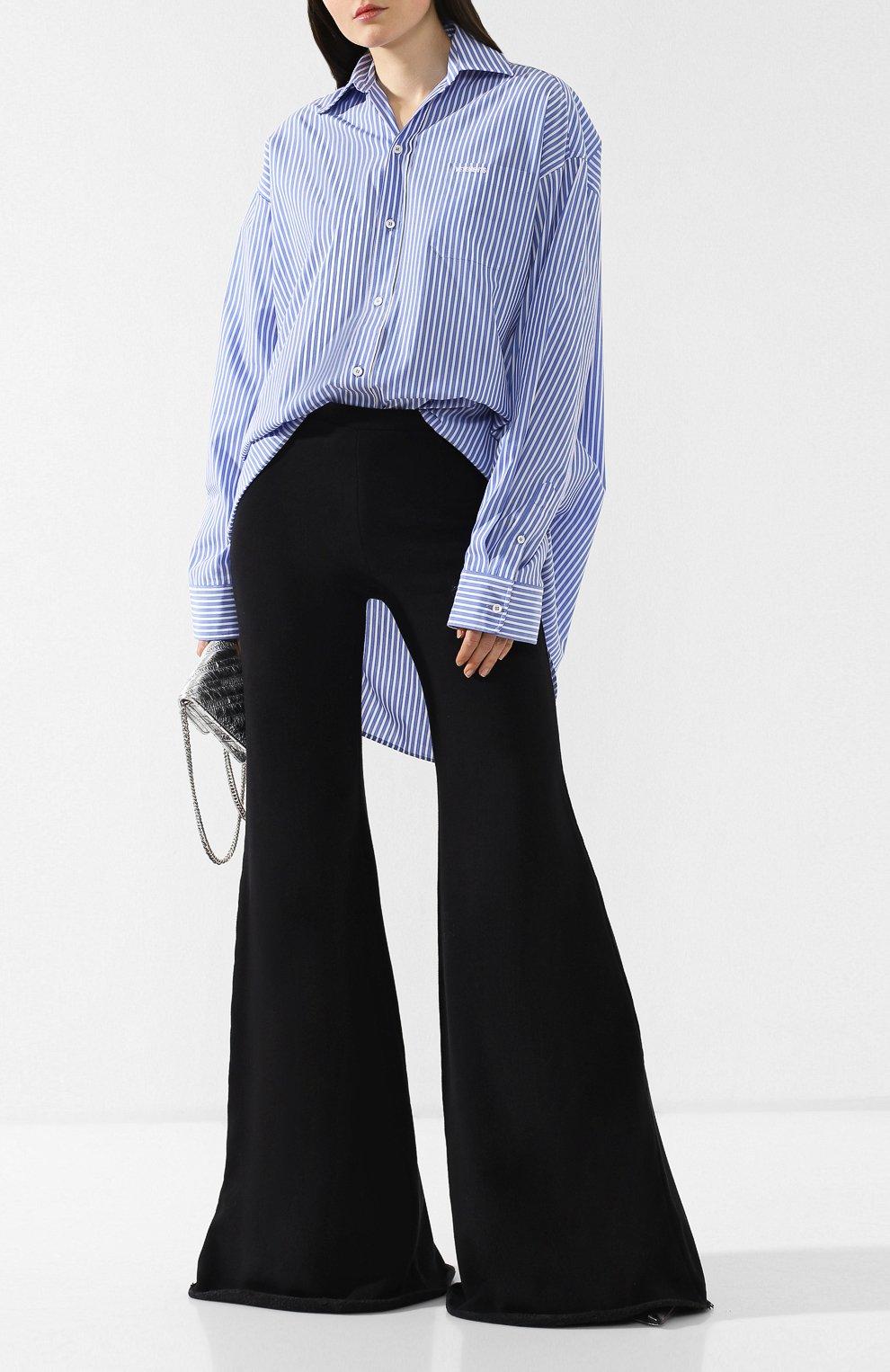 Расклешенные брюки из хлопка Vetements черные | Фото №2