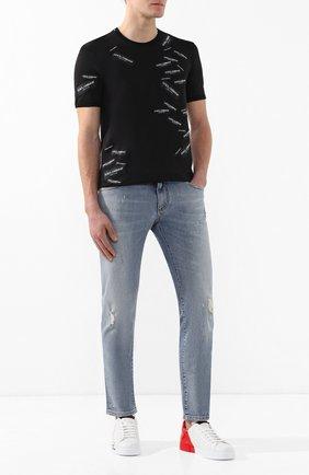 Мужские кожаные кеды portofino DOLCE & GABBANA белого цвета, арт. CS1600/AI053 | Фото 2