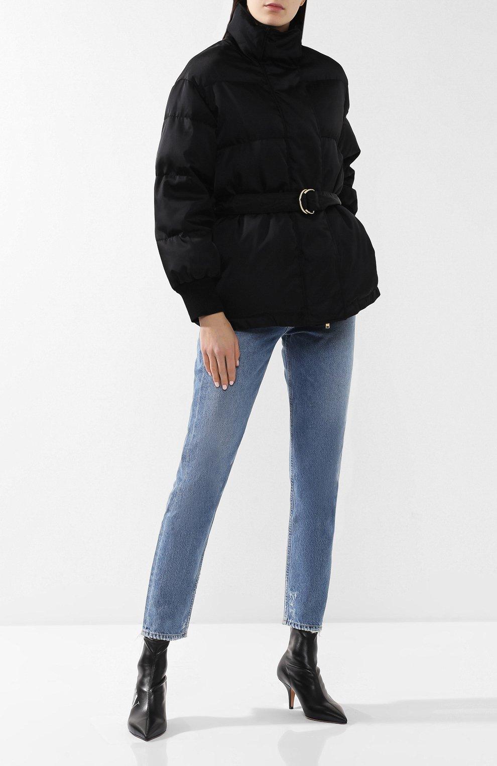 Пуховик с поясом Stella McCartney черная | Фото №2