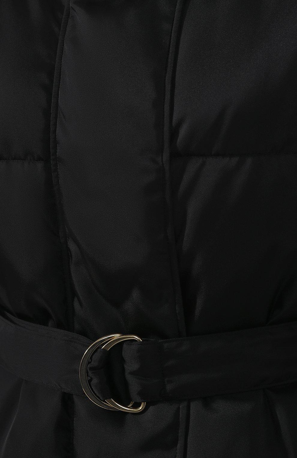 Пуховик с поясом Stella McCartney черная | Фото №5