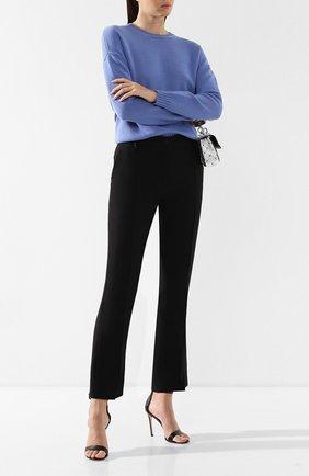 Брюки из смеси шерсти и шелка Valentino черные | Фото №2