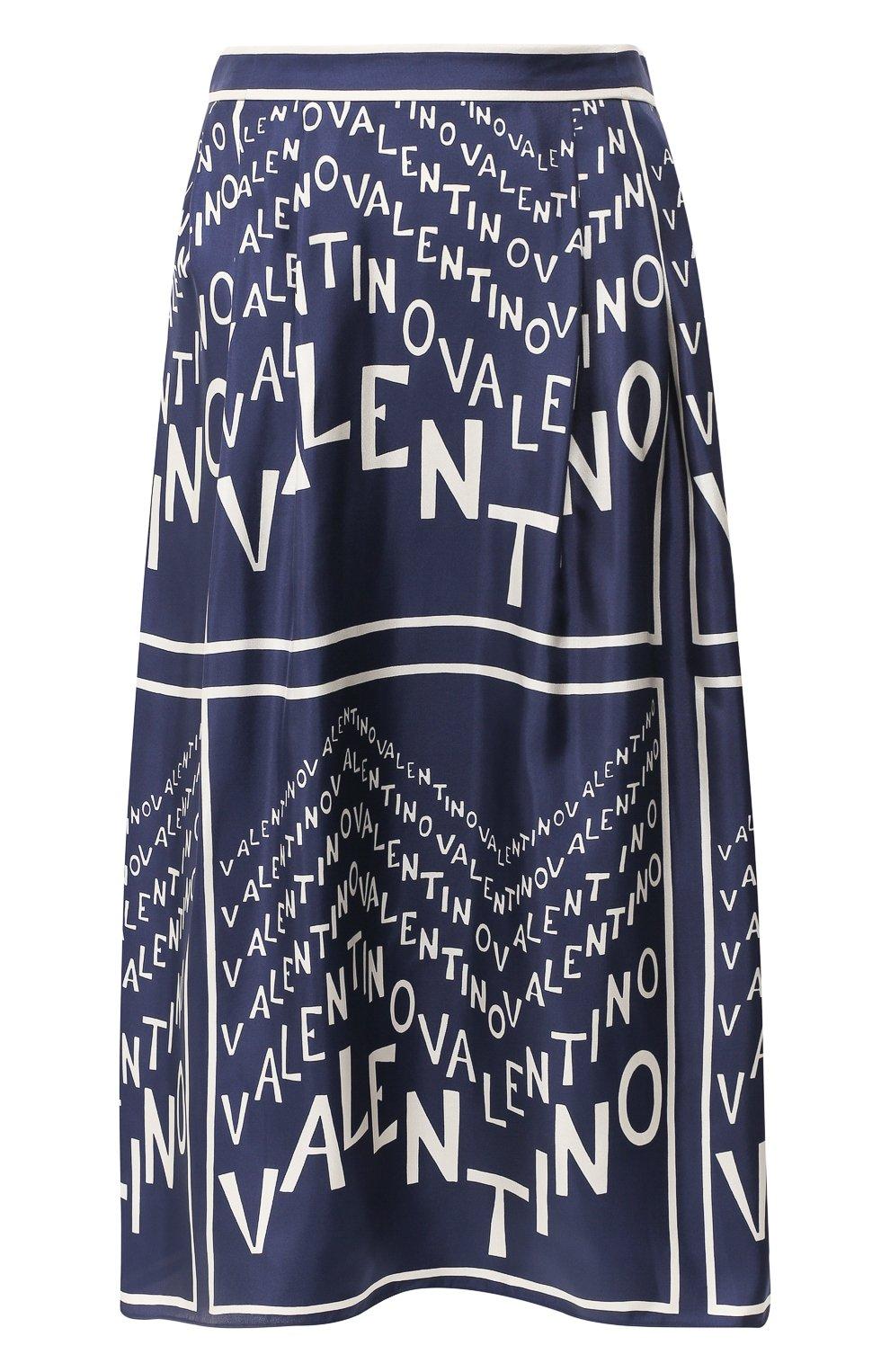 Шелковая юбка Valentino синяя | Фото №1