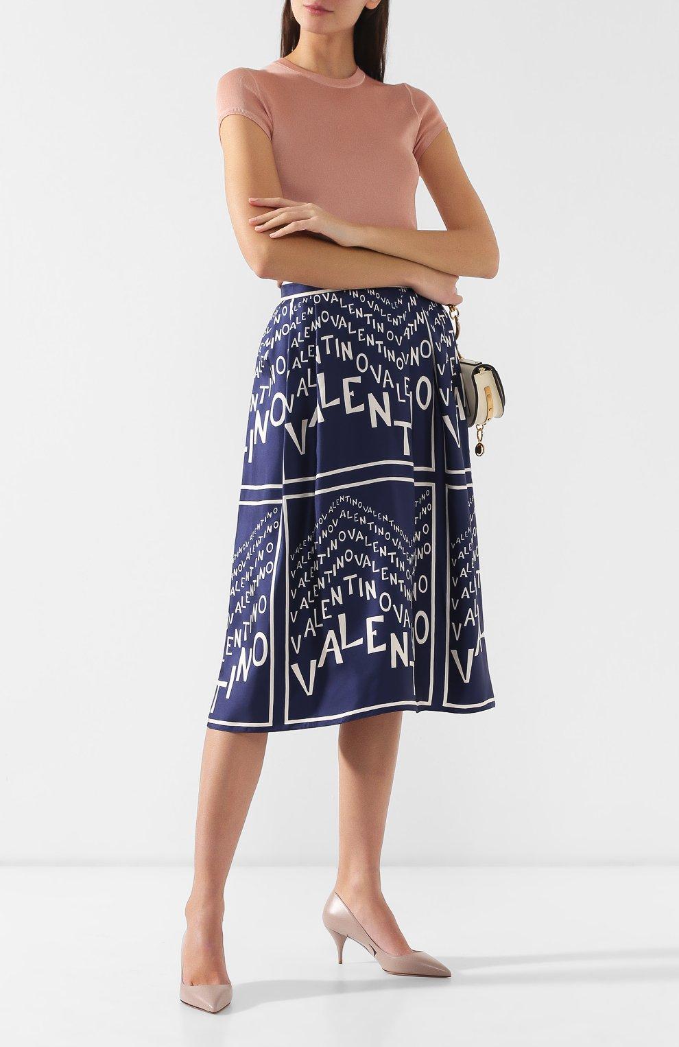 Шелковая юбка Valentino синяя | Фото №2