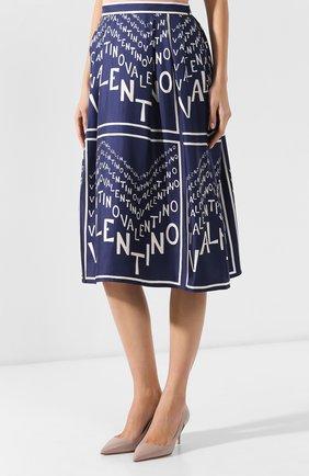 Шелковая юбка Valentino синяя | Фото №3