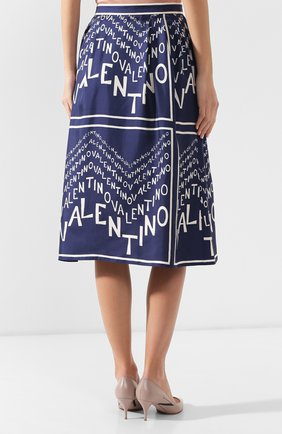 Шелковая юбка Valentino синяя | Фото №4