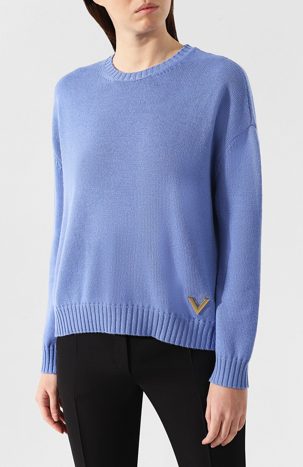 Кашемировый пуловер Valentino голубой | Фото №3