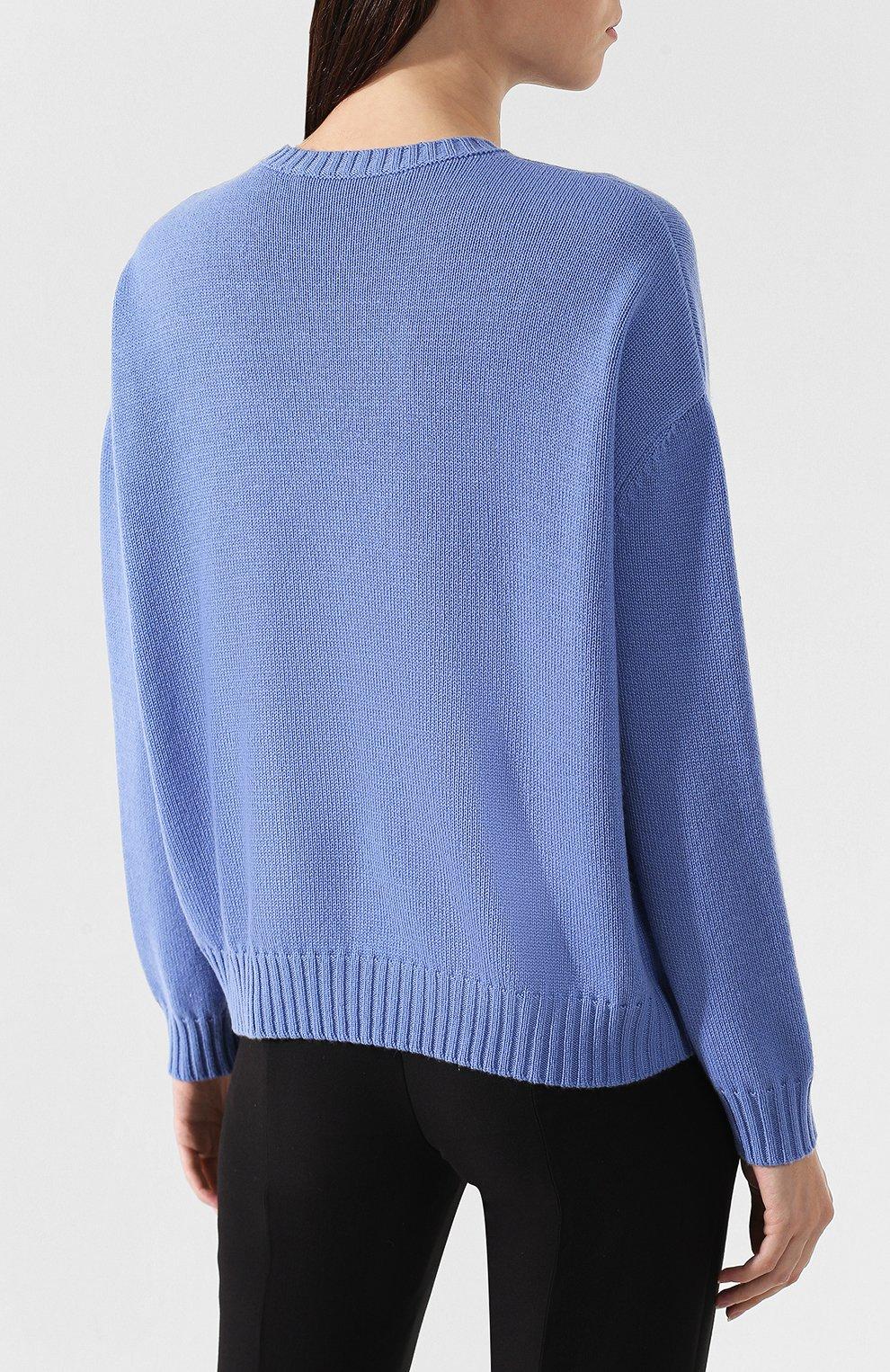 Кашемировый пуловер Valentino голубой | Фото №4
