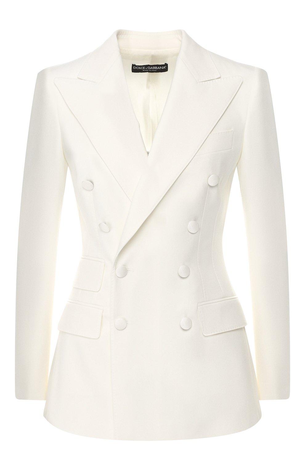 Шерстяной жакет Dolce & Gabbana белый | Фото №1