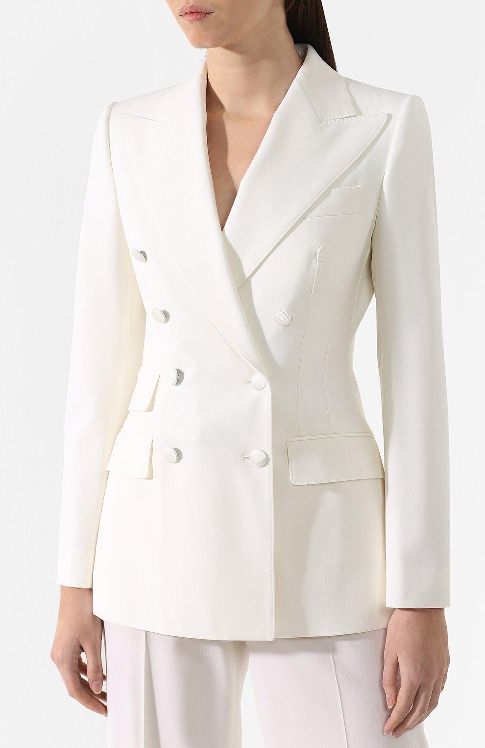 Шерстяной жакет Dolce & Gabbana белый | Фото №3