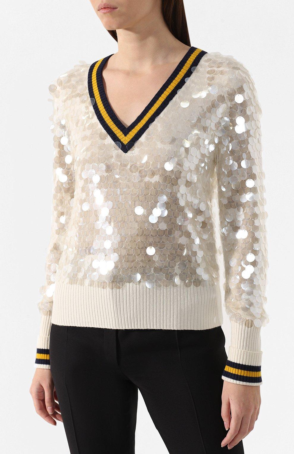 Шерстяной пуловер Escada Sport бежевый | Фото №3
