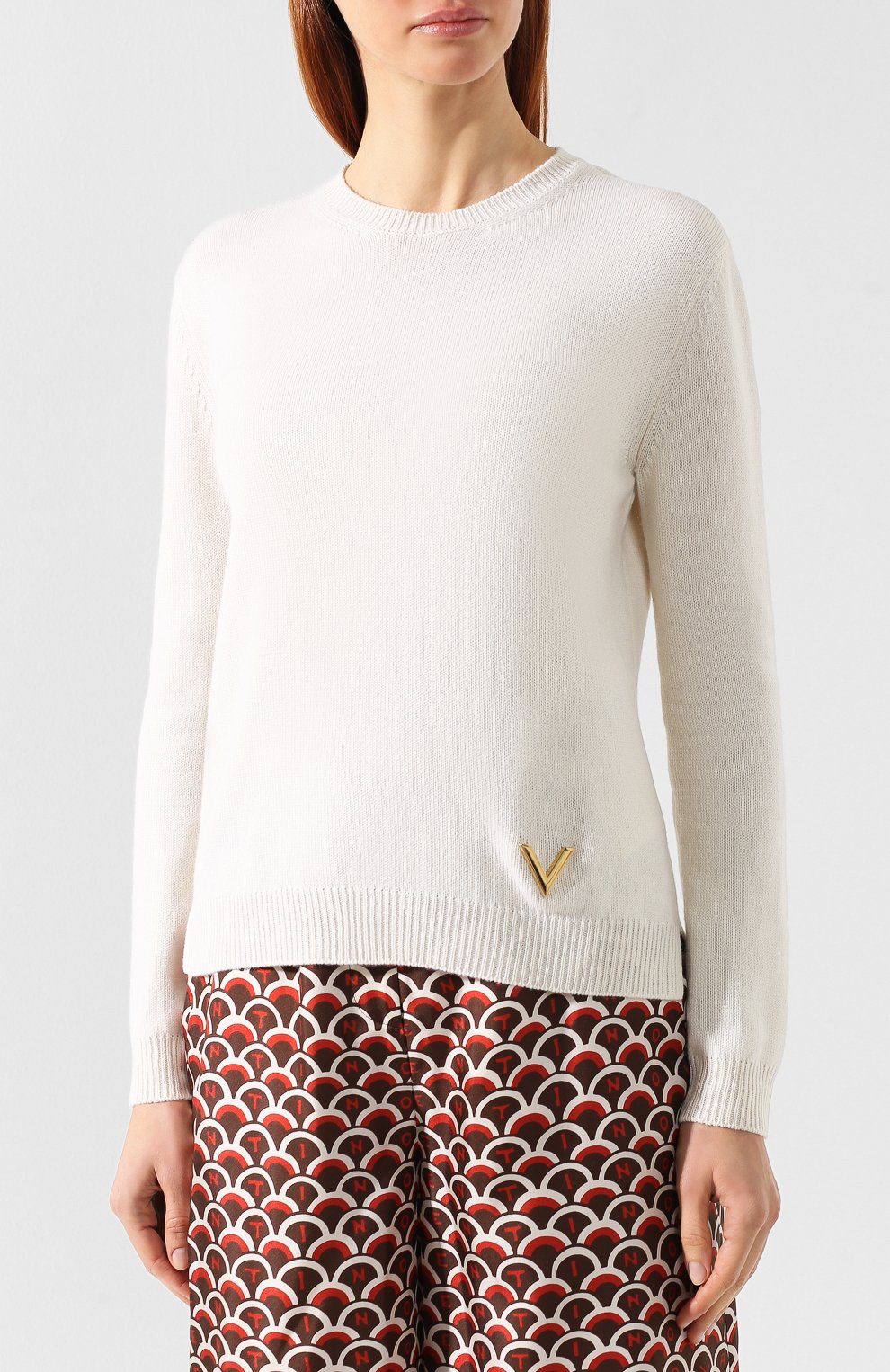 Кашемировый пуловер Valentino кремовый | Фото №3