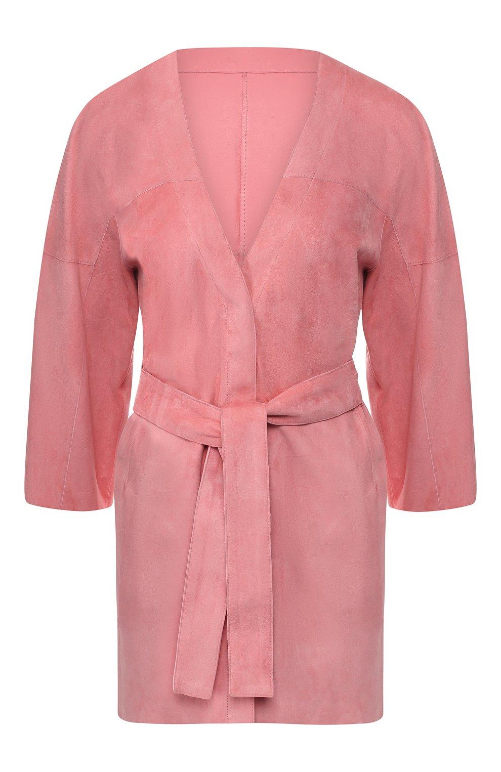 Кожаное пальто DROMe розового цвета | Фото №1