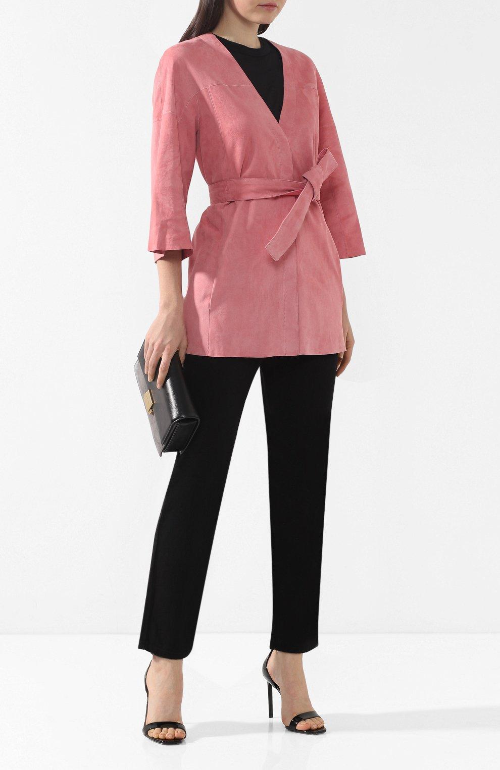 Кожаное пальто DROMe розового цвета | Фото №2