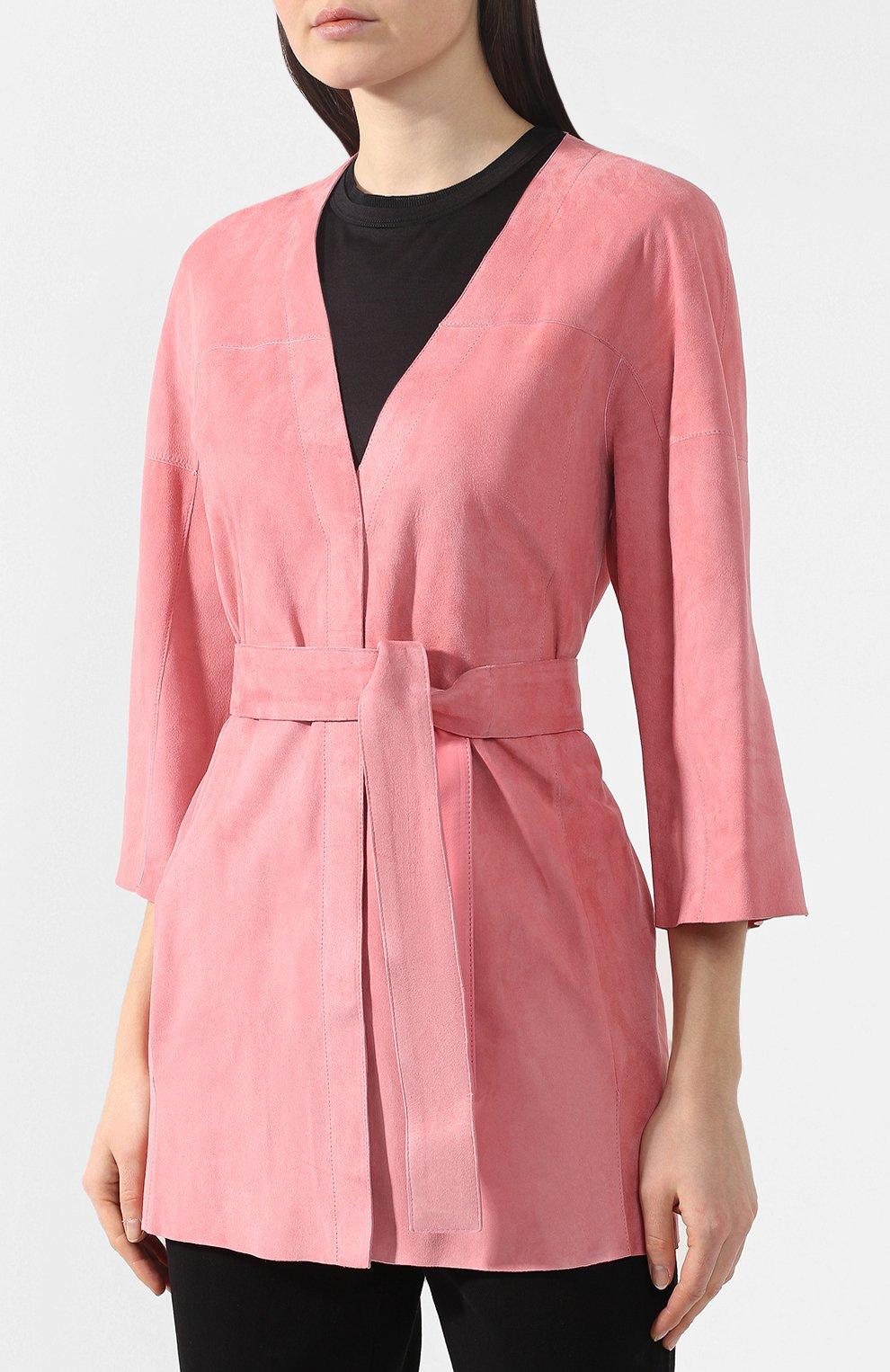 Кожаное пальто DROMe розового цвета | Фото №3