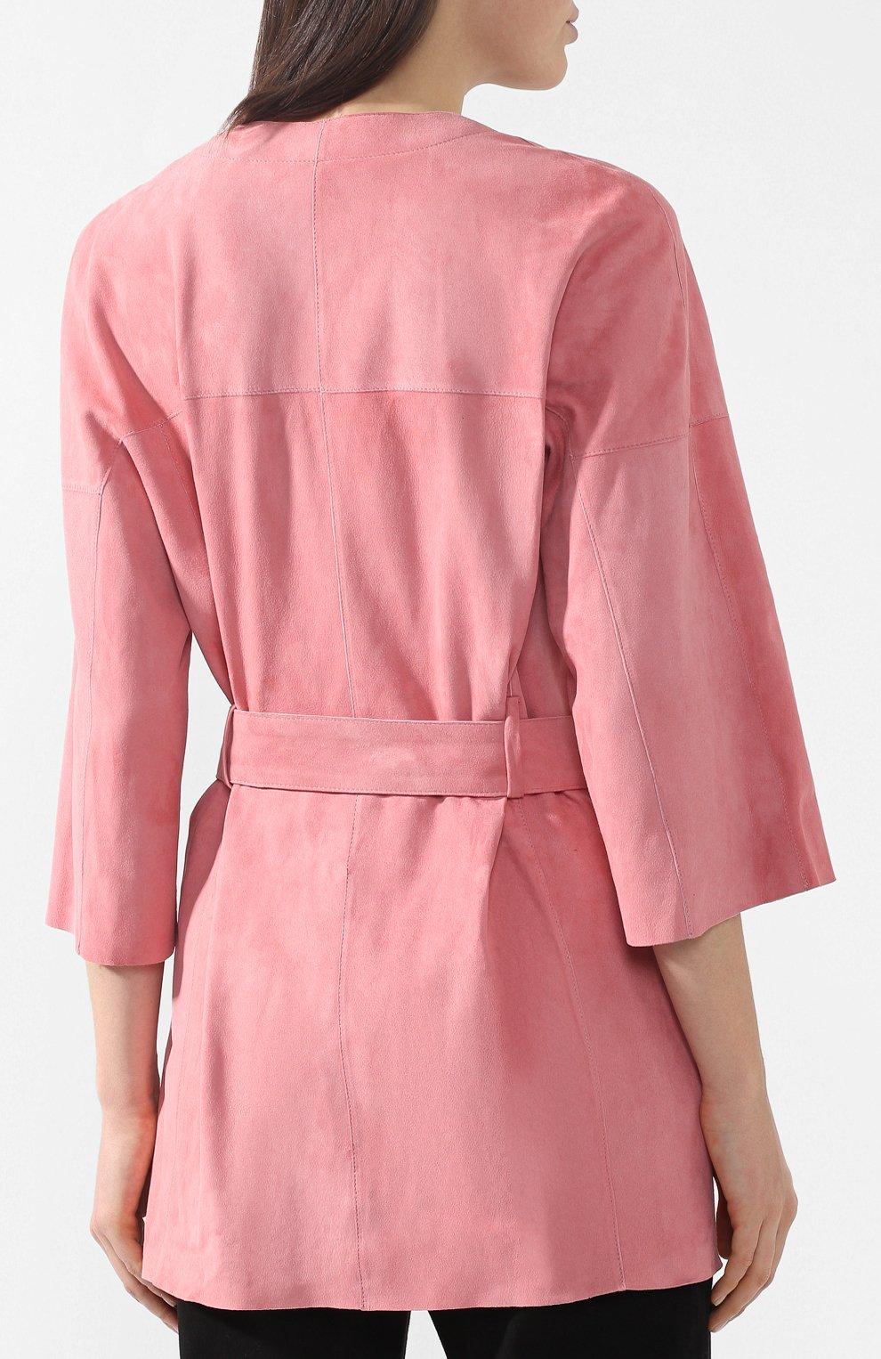 Кожаное пальто DROMe розового цвета | Фото №4