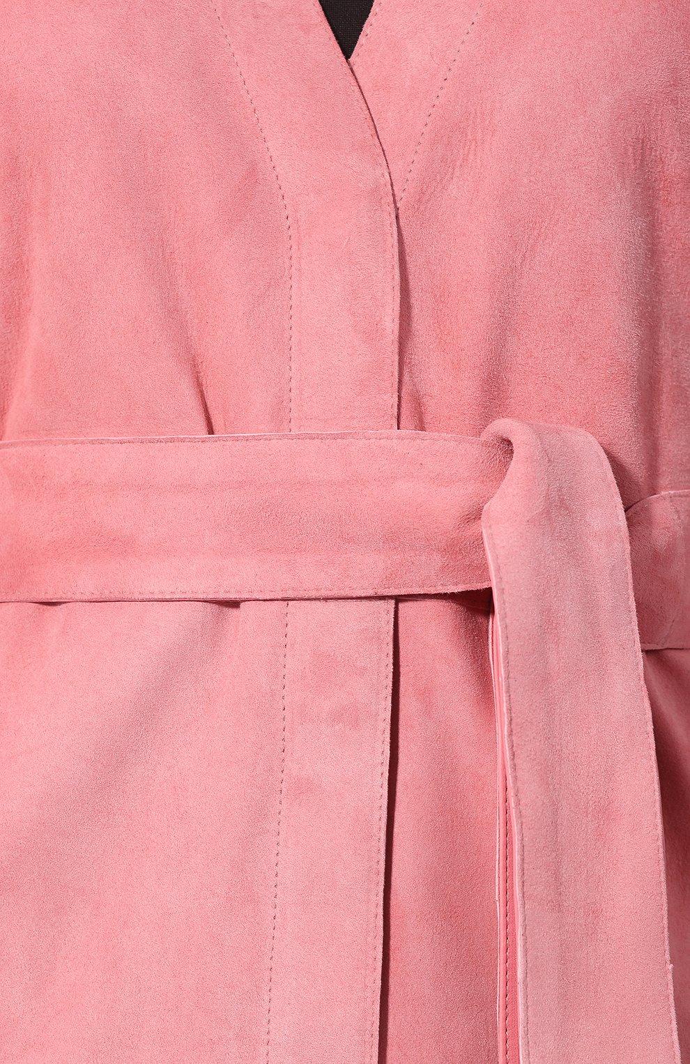 Кожаное пальто DROMe розового цвета | Фото №5