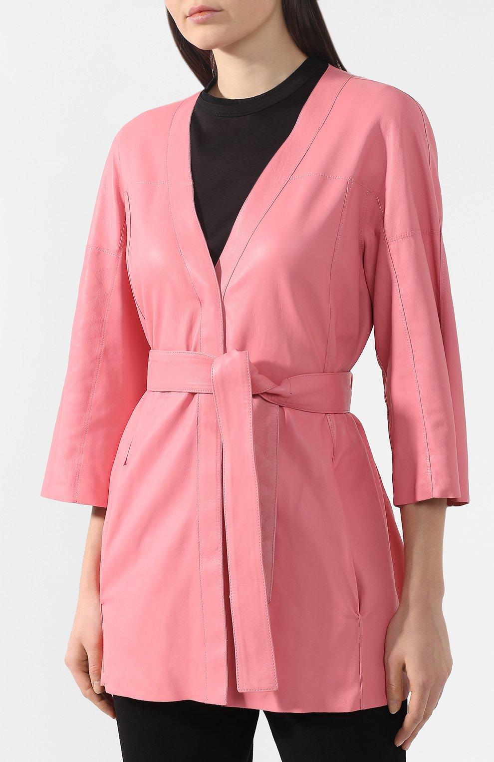 Кожаное пальто DROMe розового цвета | Фото №6