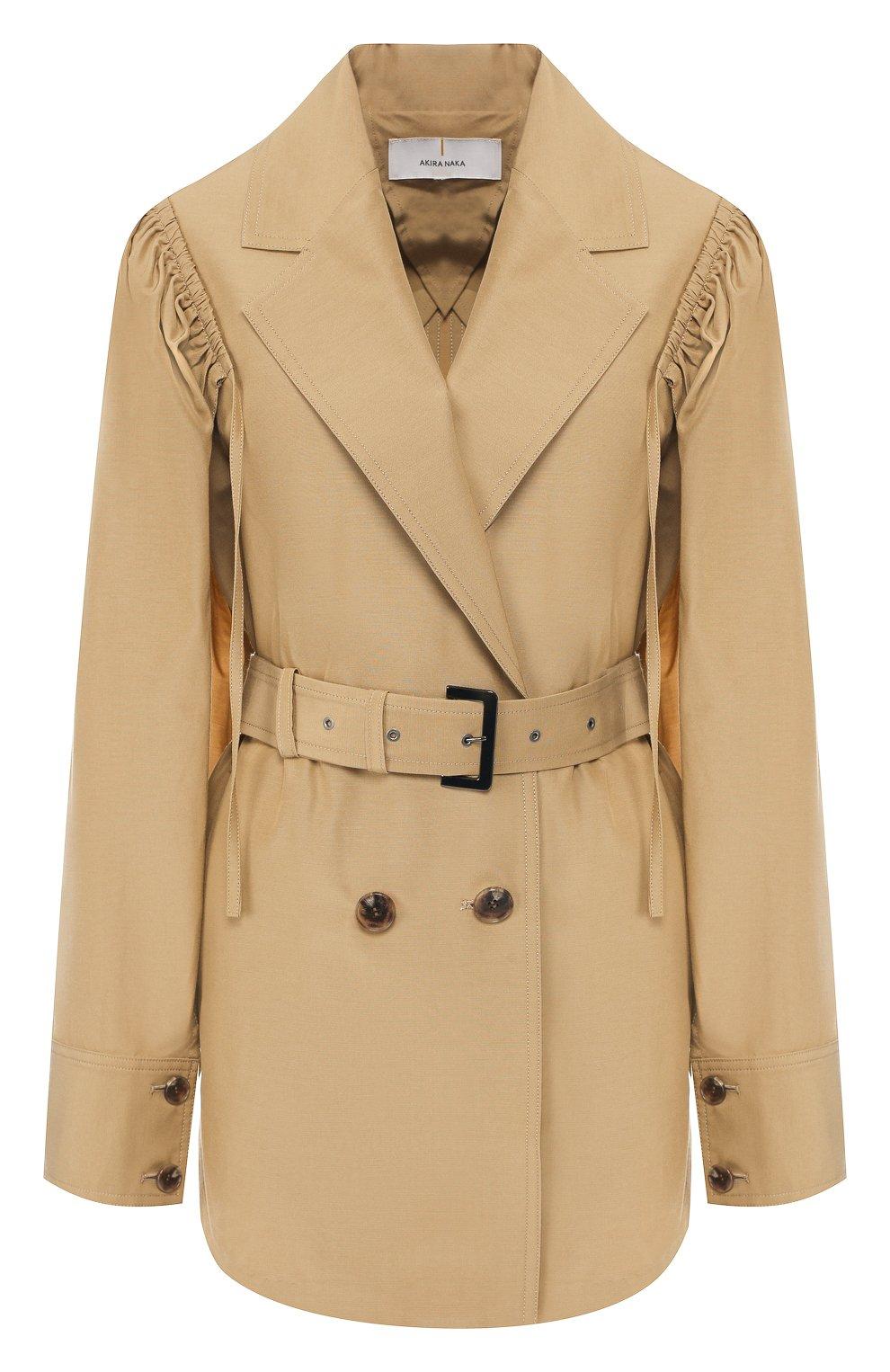 Пальто из смеси хлопка и шелка Akira Naka бежевого цвета | Фото №1