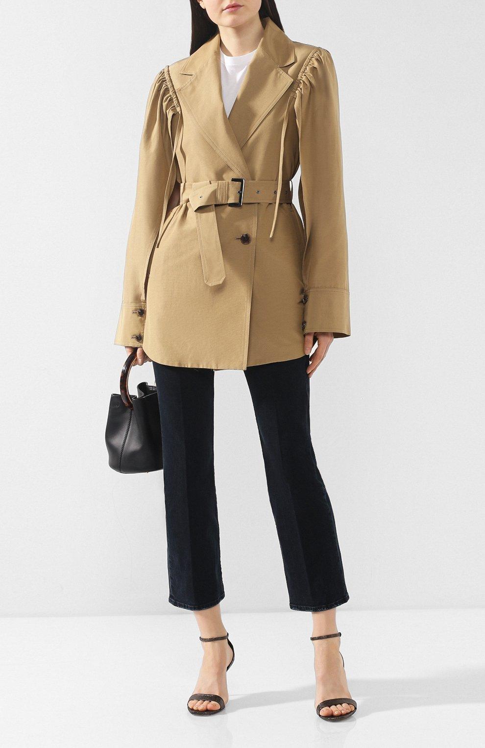 Пальто из смеси хлопка и шелка Akira Naka бежевого цвета | Фото №2