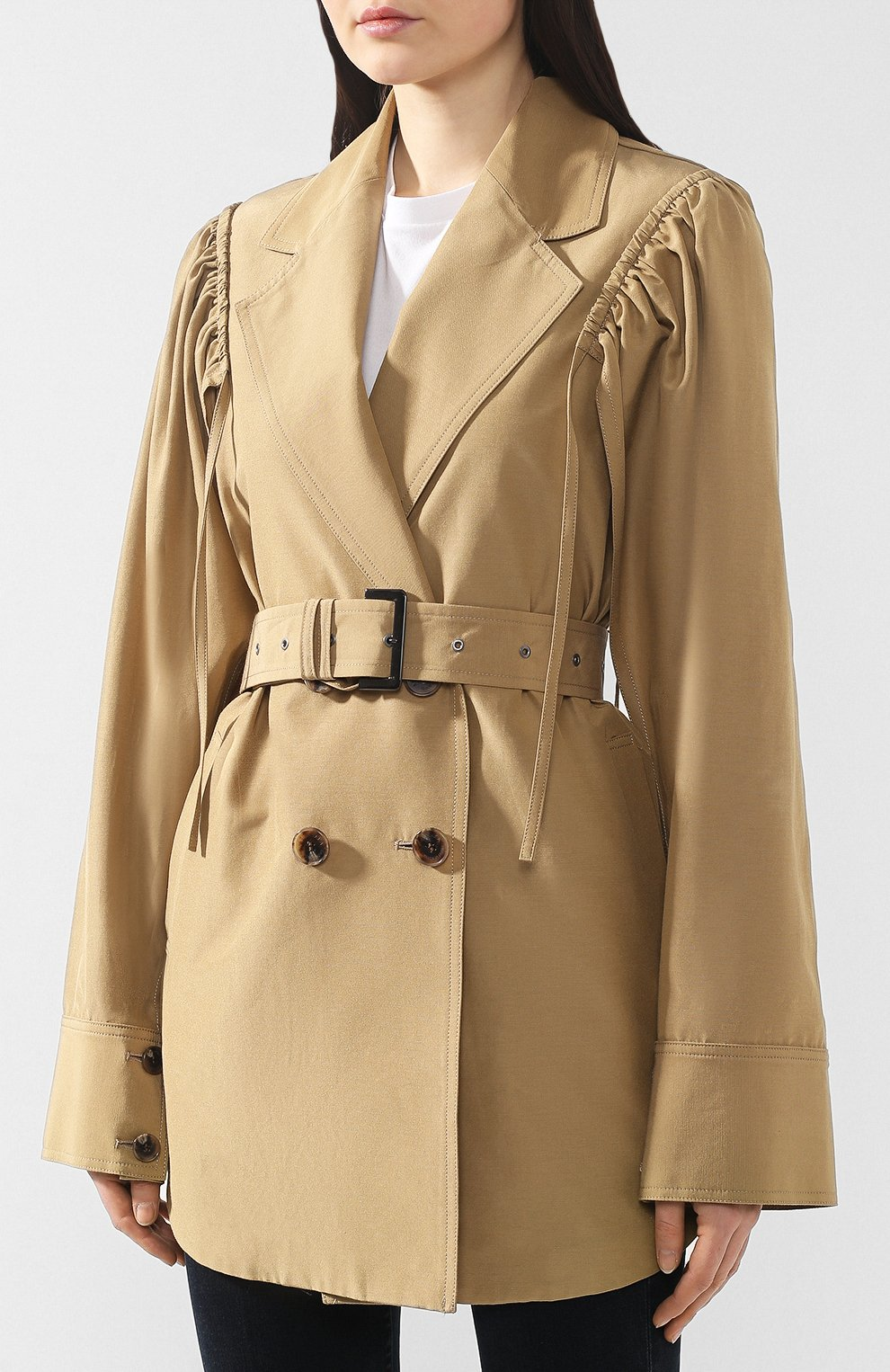 Пальто из смеси хлопка и шелка Akira Naka бежевого цвета | Фото №3