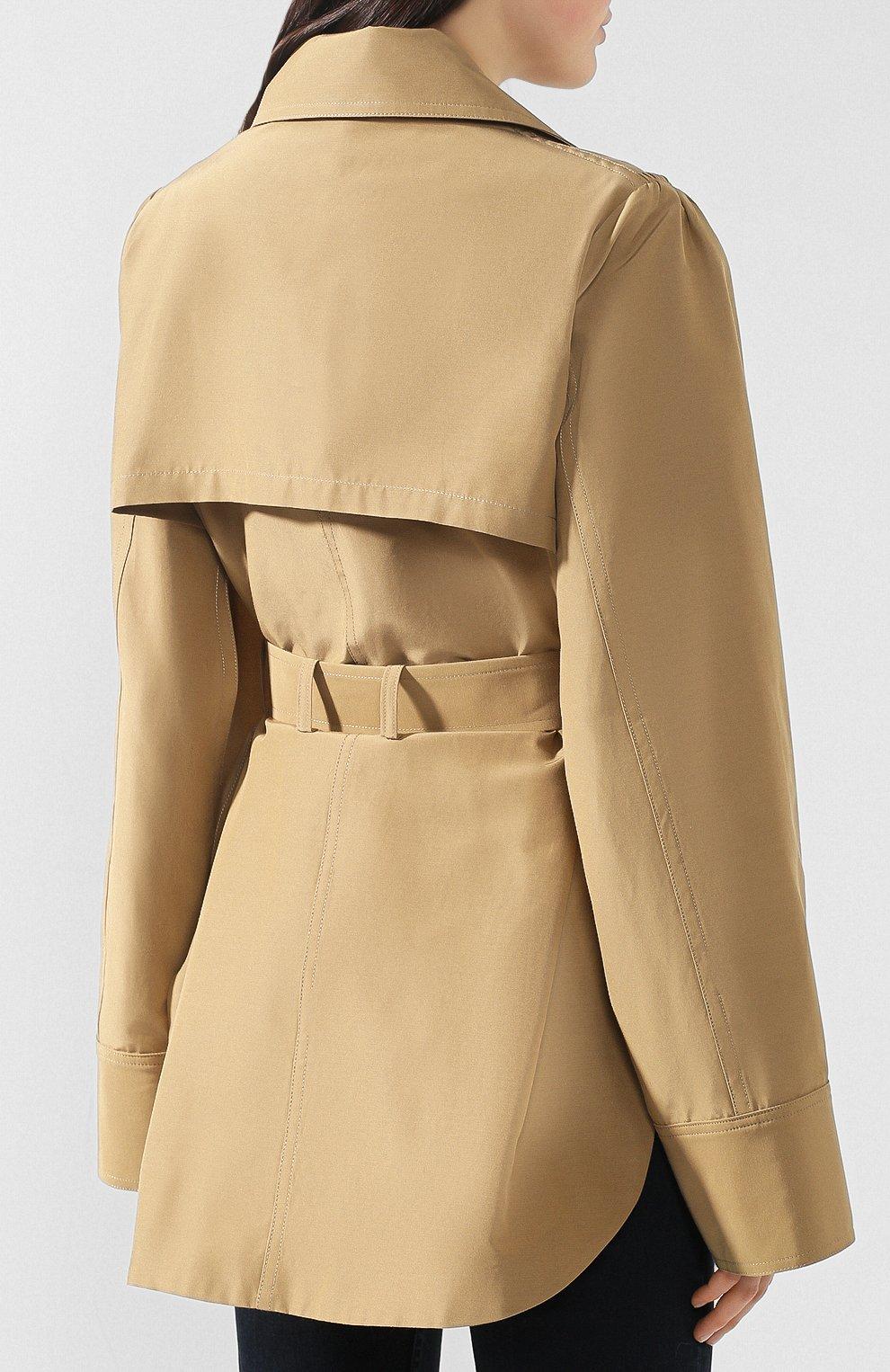Пальто из смеси хлопка и шелка Akira Naka бежевого цвета | Фото №4