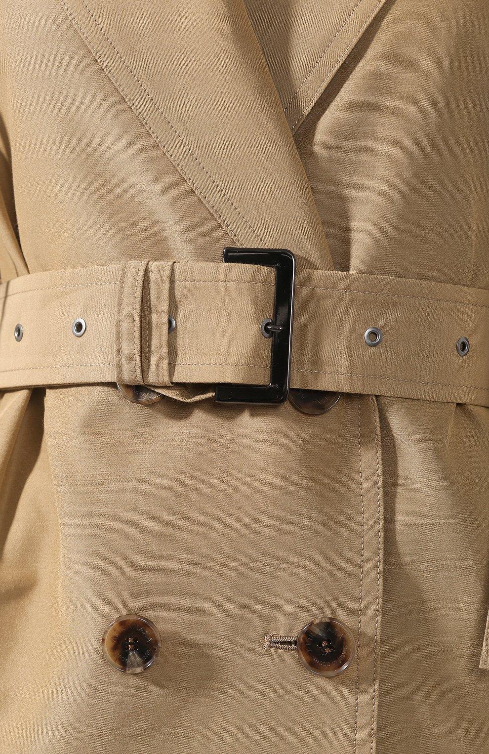 Пальто из смеси хлопка и шелка Akira Naka бежевого цвета | Фото №5