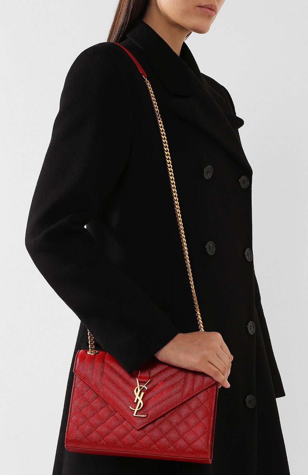 Сумка Classic Monogram medium Saint Laurent красная цвета | Фото №5