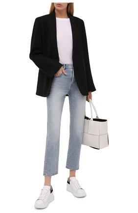 Женские кожаные кеды ALEXANDER MCQUEEN черно-белого цвета, арт. 553770/WHGP7 | Фото 2