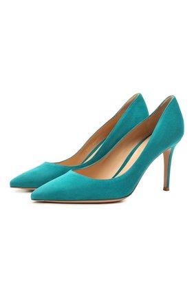 Женские замшевые туфли gianvito 85 GIANVITO ROSSI бирюзового цвета, арт. G24580.85RIC.CAMM0SC | Фото 1