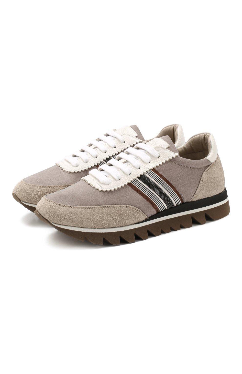 Комбинированные кроссовки Brunello Cucinelli бежевые   Фото №1