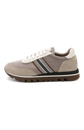 Комбинированные кроссовки Brunello Cucinelli бежевые   Фото №3