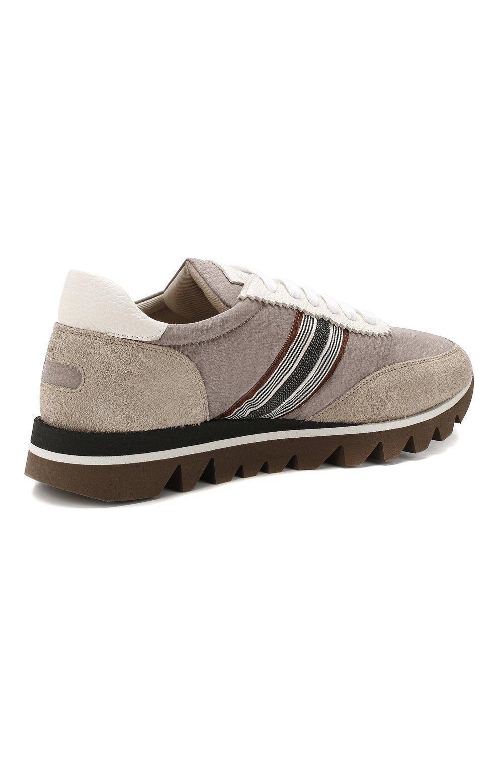 Комбинированные кроссовки Brunello Cucinelli бежевые   Фото №4